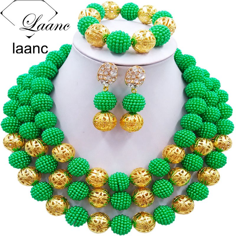 Laanc Green Simulated Pearl Beads African Jewelry Set Nigerian Wedding Necklace Jewelry Sets 3CZJ010Laanc Green Simulated Pearl Beads African Jewelry Set Nigerian Wedding Necklace Jewelry Sets 3CZJ010