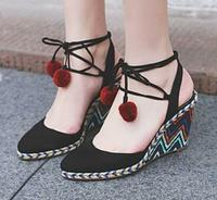 Womens Platform Shoes Espadrille Wedge Heel Sandals Lace Up Ankle Strap Slingback Chic Roman Boho New 3Colors Suede Leather A204
