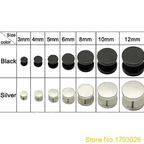 3 4 5 6 8 10 12 mm Men Women Girl Cool Barbell Punk Gothic Stainless Steel Studs Earrings 4T8P
