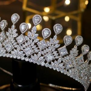 Image 5 - Asnora 盛大な結婚式花嫁のクラウンエレガントな zincons 髪ティアラ王冠アクセサリー