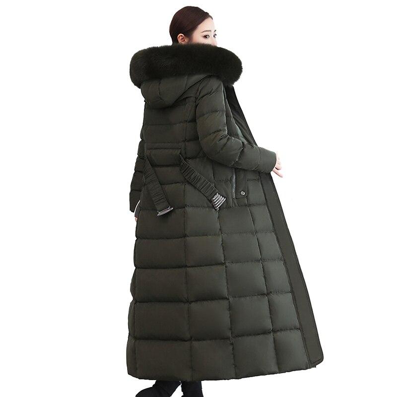 e48c26e21c10 2019 Winter Lengthen Coat Women Down jacket High quality Fox fur collar  Hooded Tops Thick Warm