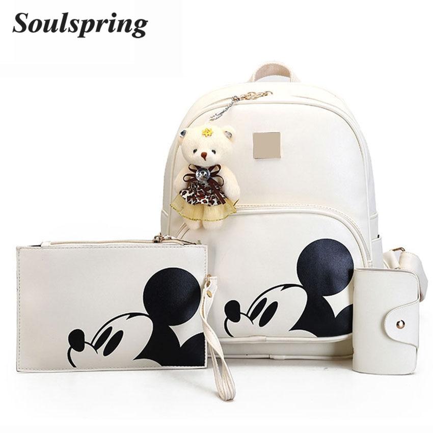Dibujos Animados 3 unids/set mochila para las niñas cuero compuesto mochila mujer Cute Mickey mochilas y oso Purse Sac A dos