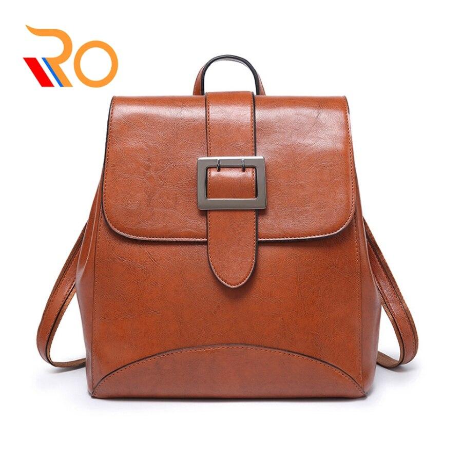 Femmes sacs à Dos en cuir Vintage femme Sac à bandoulière Sac A Dos voyage dames Sac à Dos Mochilas sacs d'école