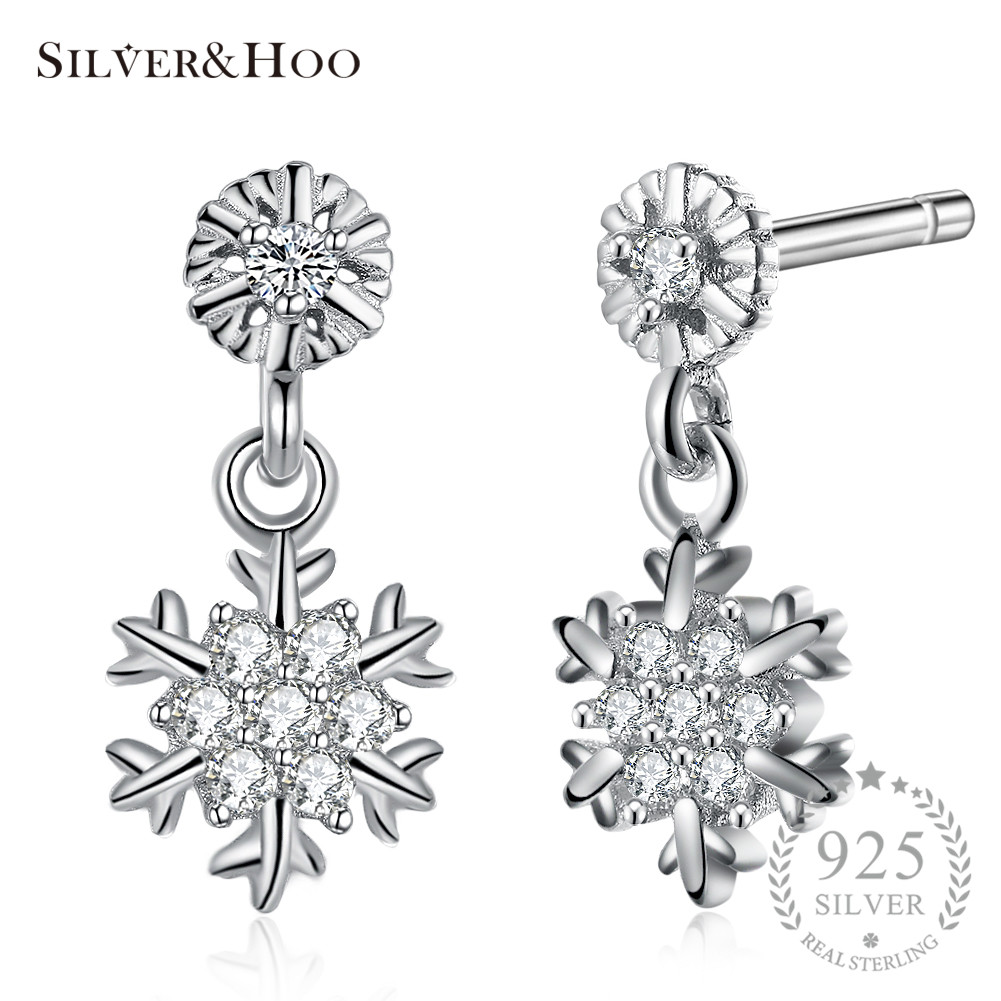 SILVERHOO Stud Earrings 925 Sterling Silver for Women Lady Grils Cocktail Party Xmas Jewelry Original Best Gift