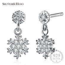 SILVERHOO Stud Earrings 925 Sterling Silver for Women Lady Grils Cocktail Party Xmas Jewelry Original Best