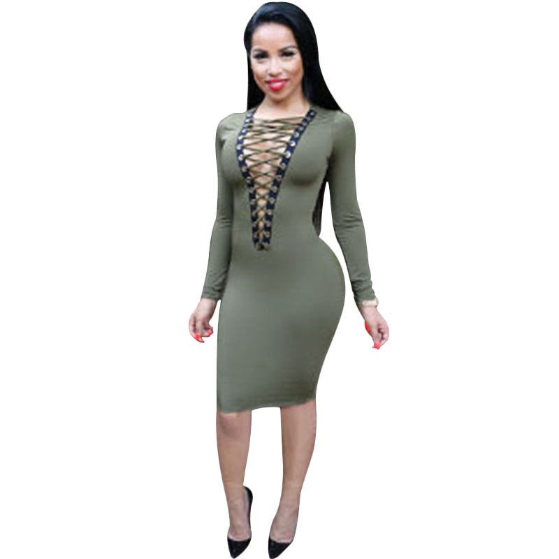 Vestidos 2016 women Sexy Club dress Stretch Front Cage Bodycon Party ...