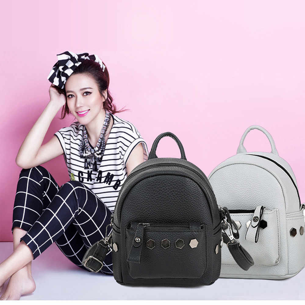 351c72ea32ed ... Aelicy New 2018 Women Backpacks High Quality Small School Bags For Teenage  Girls Pu Leather Rivet