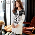 dabuwawa lace white printed long-sleeved long hoodies dress female XS-XXL