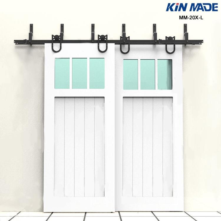 KIN MADE MM-20X-L Horseshoe Style Bypass Double Panel Sliding Barn Door Hardware Kit