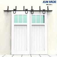 KIN MADE MM 20X L Horseshoe style Bypass double panel sliding barn door hardware Kit
