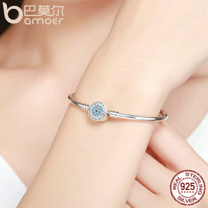 Image 3 - BAMOER High Quality Authentic 925 Sterling Silver Blue Eyes Clear CZ Snake Chain Heart Bangle & Bracelet Luxury Jewelry SCB012