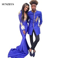 Mermaid High Collar Long Sleeves Black Girl Prom Dress 2019 Beaded Gold Appliques Royal Blue Party Gowns Long Jersey Robe