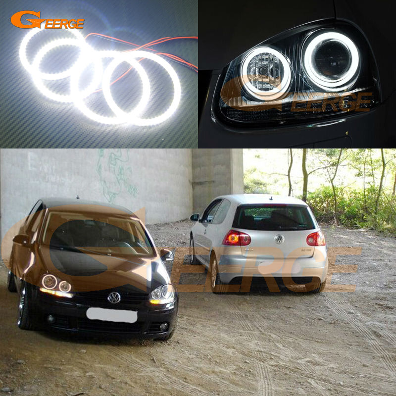 For VOLKSWAGEN VW golf 5 V mk5 2004 2005 2006 2007 2008 2009 Angel Eyes Ultra bright illumination smd led Angel Eyes kit hochitech white 6000k ccfl headlight halo angel demon eyes kit angel eyes light for vw volkswagen golf 5 mk5 2003 2009