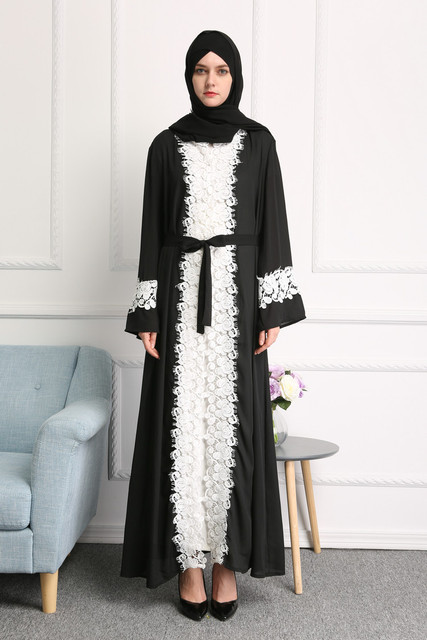 d182e1b34a05 MZ Garment Women's Elegant Long Sleeve Coat Fashionable Chiffon Cardigan Muslim  Islamic Open Front Abaya Coat