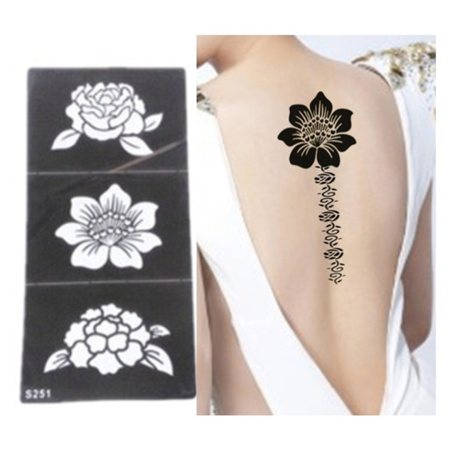 5pcs Tattoo Stencil Flower Templates Hands Feet Henna Stencils For Airbrushing Professional New