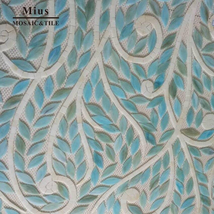 Fashion   Sky Blue Mix  Tiffany Glass Mosaic Tiles Leaf Mosaic Pattern Custom Color Allowed Lpowder Room Living Room Decoration