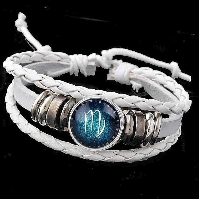Rivca 12 Constellations Bracelet 2018 New Fashion WHITE Leather Bracelet Men Women Zodiac Punk Bracelet With Night Shine Bead