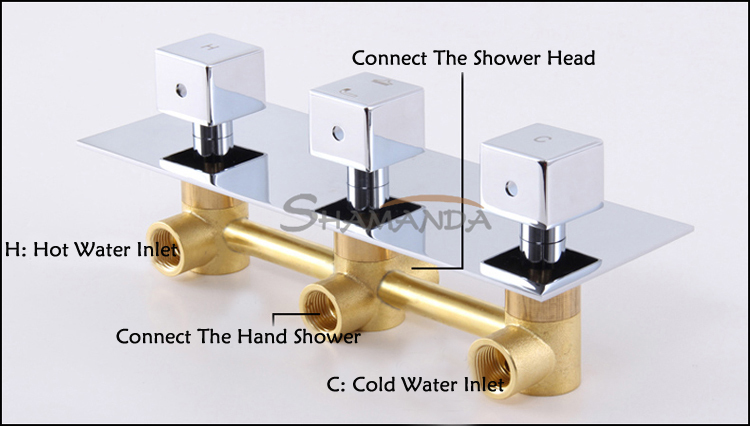 Free Shipping Solid Brass Chrome 3 Handles Bathroom Products Concealed In Wall Mounted Rainfall Square Shower Set  Mixer Valve sognare new wall mounted bathroom bath shower faucet with handheld shower head chrome finish shower faucet set mixer tap d5205
