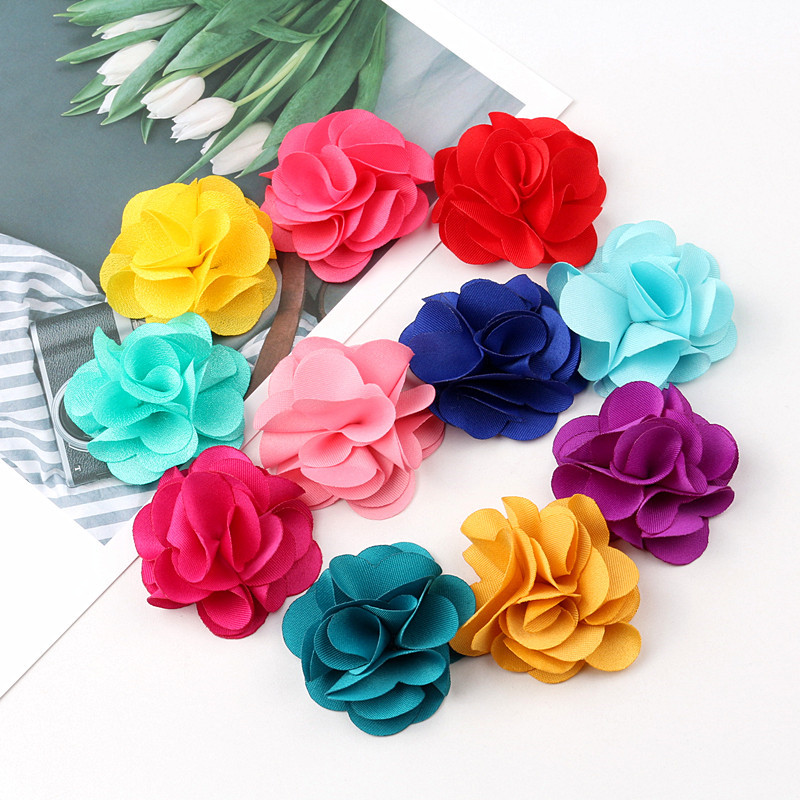 Image 2 - 100Pcs Mix Colors Mini Chiffon Fabric Flower For Wedding Invitation Artificial Flowers For Dress Decoration-in Jewelry Findings & Components from Jewelry & Accessories