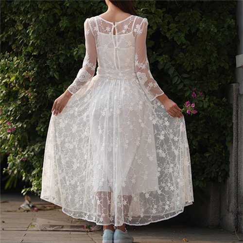 5dc6519c86f Casual Ethnic White Sexy Lace Maxi Dress Female Vintage Tunic Beach  Vacation Robe Boho Long Dress Plus Size Women Dress#A109-in Dresses from  Women's ...