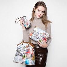 REALER brand 3 pcs printed handbag women large tote bag artificial leather shoulder messenger bags female small coin purse