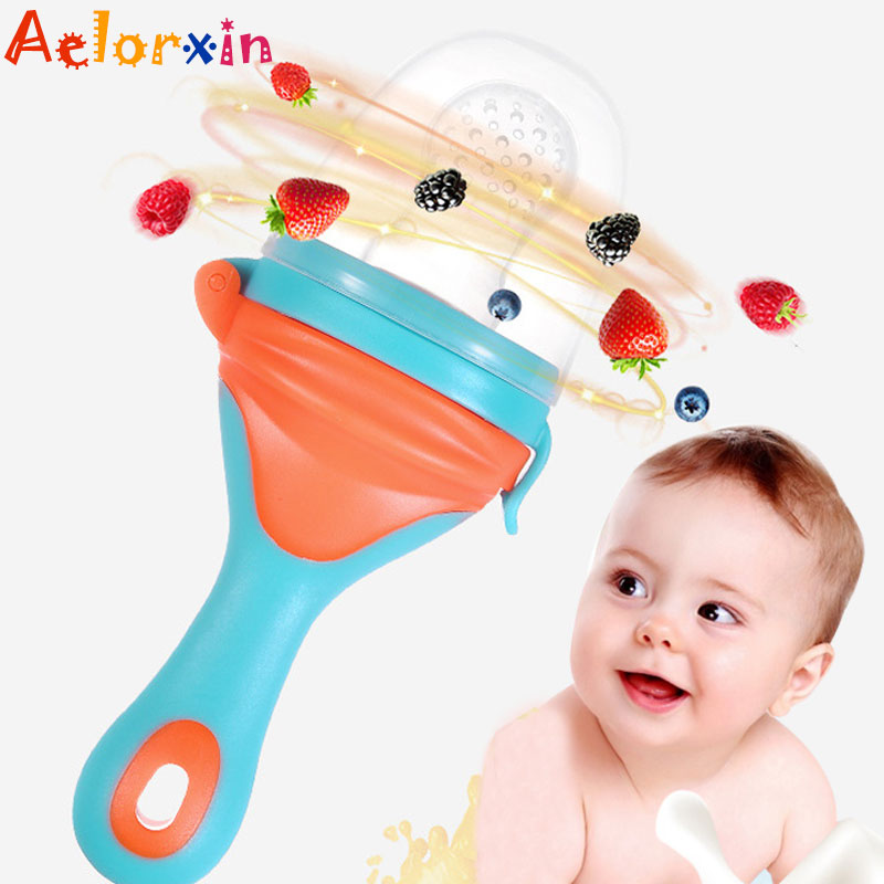 2018 1Pcs Fresh Food Nibbler Baby Pacifiers Feeder Kids Fruit Feeder Nipples Feeding Safe Baby Supplies Nipple Teat Pacifier Bot