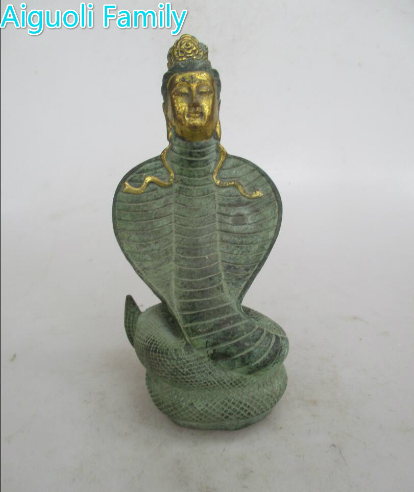 AAA+Rare Chinese Old Bronze Carved Goddess snake Sculpture/Art Statue For Home Decoration Antique Collection