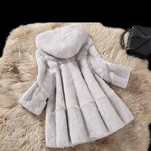 Зимнее пальто из натурального кроличьего меха, верхняя одежда для женщин, ТРАПЕЦИЕВИДНОЕ Свободное пальто из натурального меха с капюшоном, осень