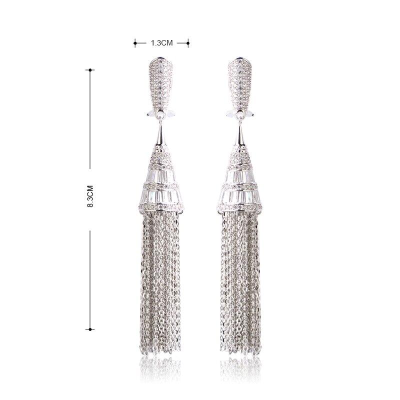 Blucome luxe Micro Pave Zircon boucles d'oreilles pour femmes dame oreille bijoux Long pendentif gland mariée boucle d'oreille - 2
