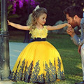 Yellow Pageant Dresses 2016 Little Girls Ball Gown Dresses Appliqued Cap Sleeve Flower Girl Dresses