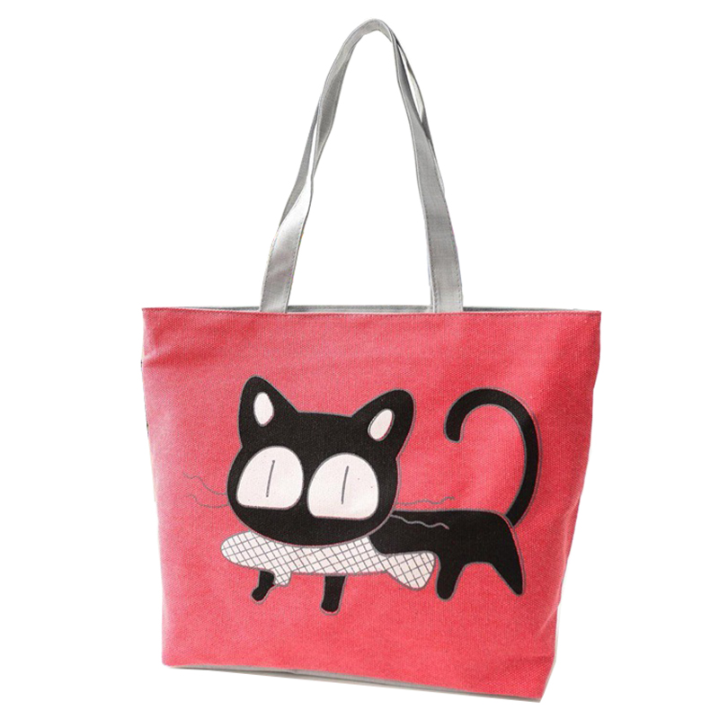 Cat Shopper Big Canvas Shoulder Ladies Hand Women Messengers Tote Bags Handbags Bolsas Sac A Main Femme For Girls Beach Pochette new woman shoulder bags cute canvas women big bags literature and art cartoon girls small fresh bags casual tote