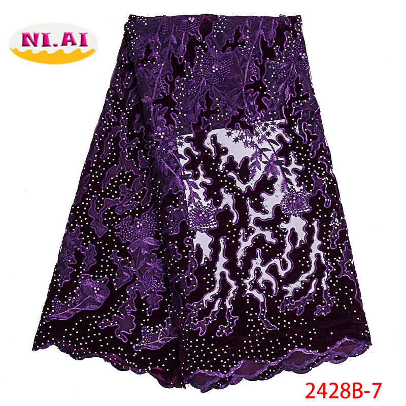 French Net Lace Fabric 2019 High Quality Latest African Stones Lace Fabric Embroidery Mesh Velvet Tulle