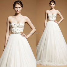 Sexy Strapless Sleeveless Vestido De Noiva With Beads/Sequins Court Train Backless Vintage Ball Gown Wedding Dress 2014