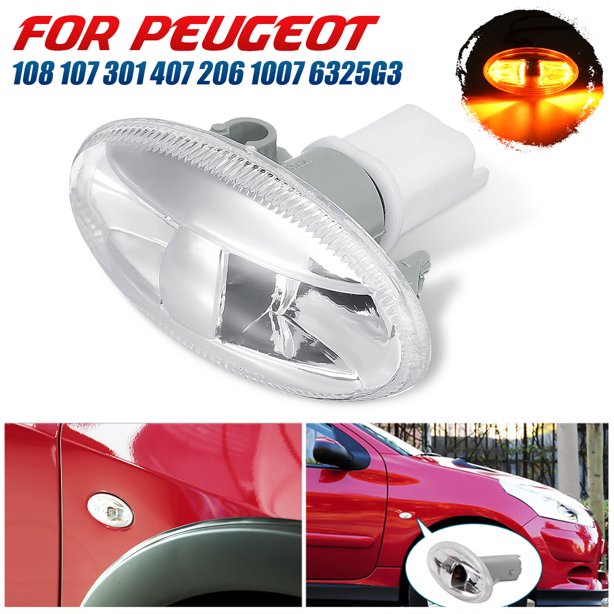 New Car Partner Side Indicator Repeater Light <font><b>Lamp</b></font> For <font><b>Peugeot</b></font> 108 107 <font><b>407</b></font> 206 1007 VU 301 108 <font><b>407</b></font> High Quality image