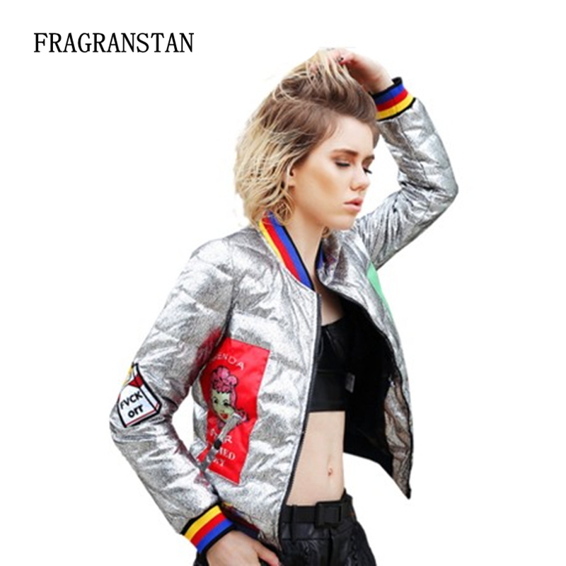 e4927ffbb91 2018 New Women Winter Short White Duck Down Jacket Personality Cartoon  Printed Silver Bright Surface Female Baseball Coats LY116-in Down Coats  from Women's ...