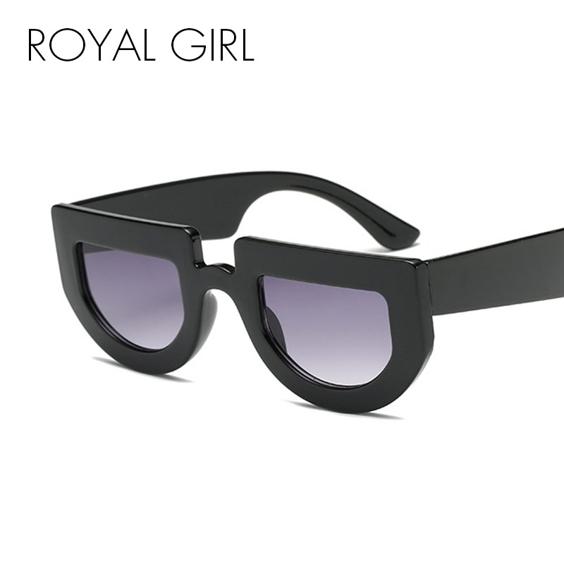 5636b914ef066 ROYAL FILLE Vintage lunettes de Soleil Femmes Demi Ronde Cadre Lunettes  2018 Marque Designer Flat Top