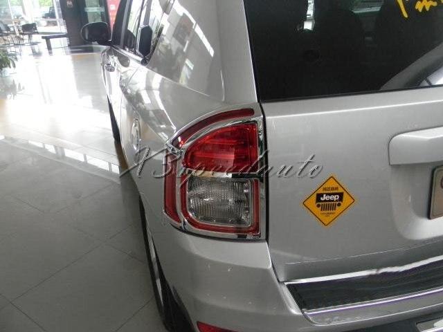 Couvercle de feu arrière chromé en plastique ABS pour boussole Jeep 2011-2013