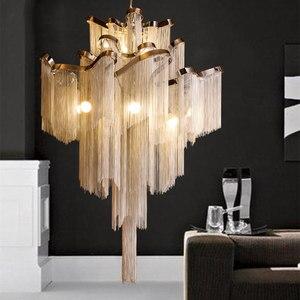 Image 3 - Moderne Luxe Zilver Goud Aluminium keten omzoomd Hanger Lamp Luxe Trap Hanger Opknoping Licht voor Thuis Hotel Decoratie