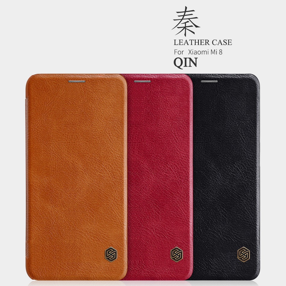 Nillkin Vintage Qin flip cover PU leather For xiaomi mi 8 case 6.21 Wallet Card Slot case smart wake up function for mi 8 case