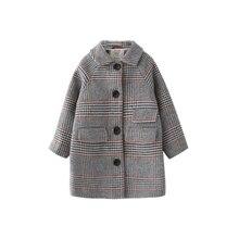 Детское зимнее пальто для девочек; новое модное шерстяное пальто с узором «гусиная лапка» для девочек-подростков; осенняя куртка; теплая Длинная Верхняя одежда; детская ветрозащитная одежда