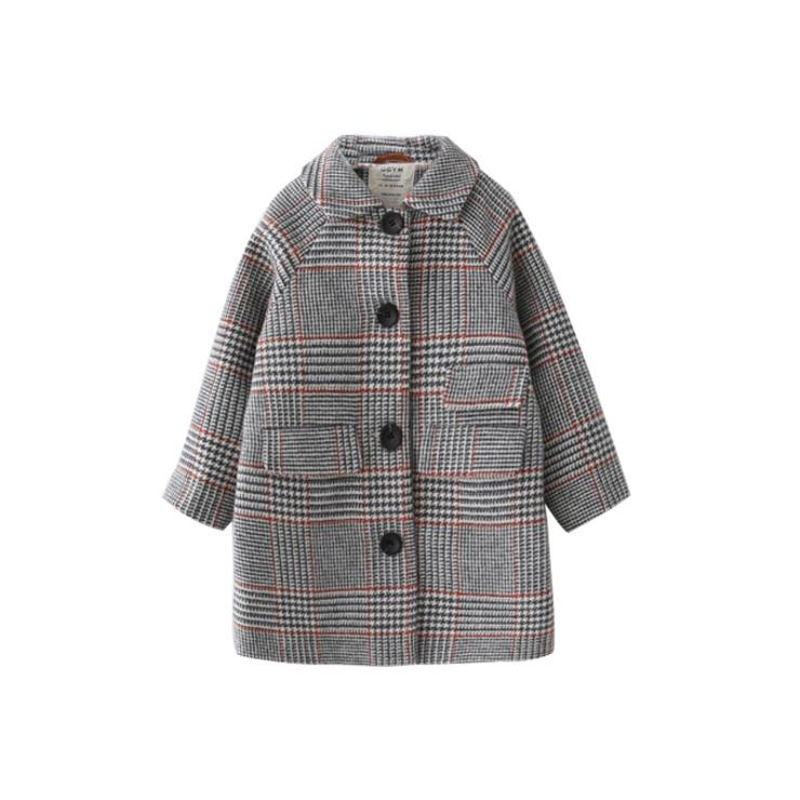 все цены на Kids girl overcoat Winter new fashion Houndstooth wool coat for girls Teens autumn jacket warm long outerwear Children Windproof