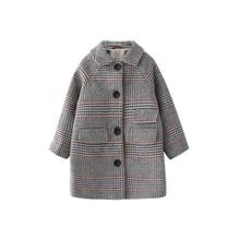 Kids girl overcoat Winter new fashion Houndstooth wool coat for girls Teens autumn jacket warm long outerwear Children Windproof