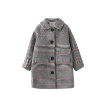 Kids girl overcoat Winter new fashion Houndstooth wool coat