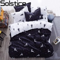 Solstice Cartoon Christmas Tree Elk Bedclothes Simple Fashion Geometric Stripes Bed Sheet Duvet Cover Sets 3
