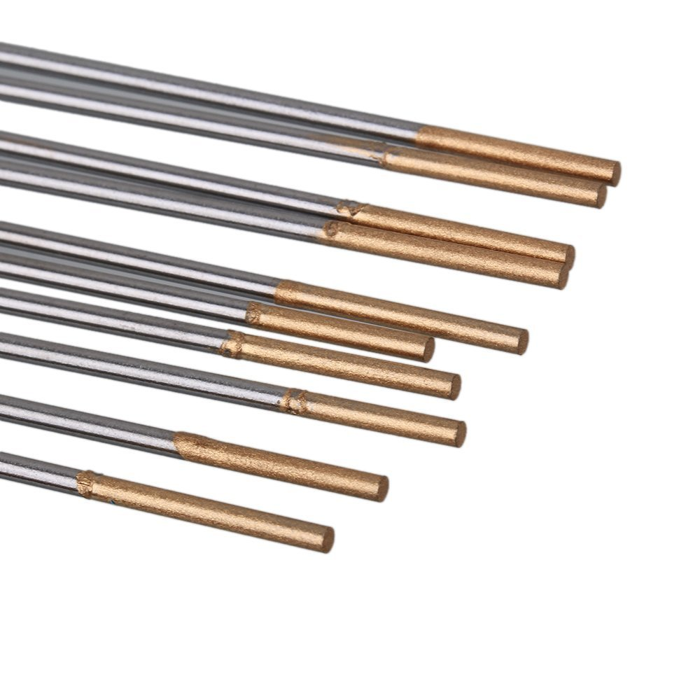 1.6/2.0/2.4 X 150mm Silver & Gold Tip WL15 Model TIG Welding Lanthanated Tungsten Electrode With Case Pack Of 10