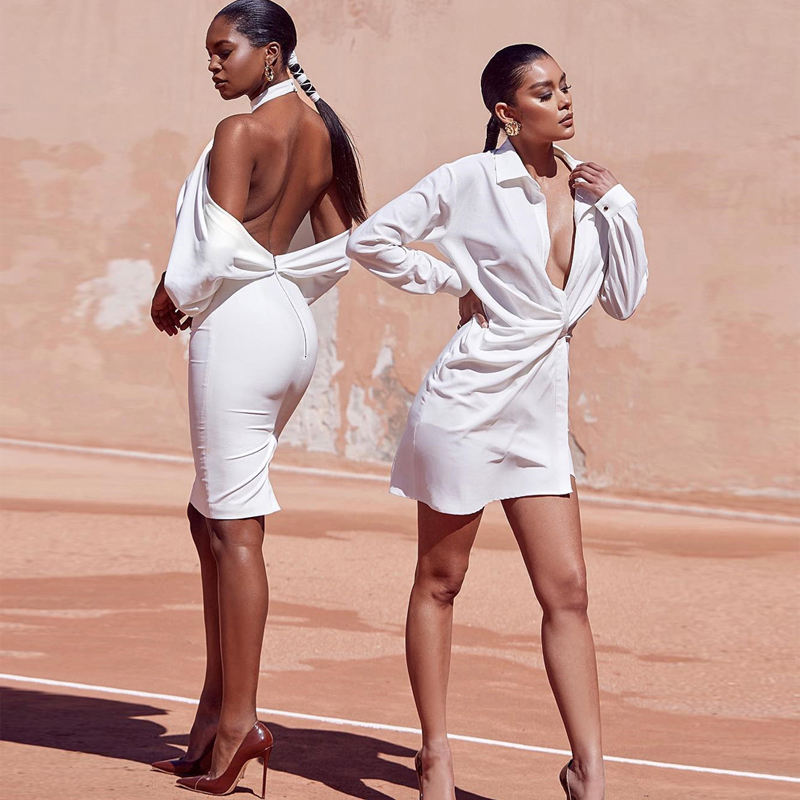 <font><b>Fashion</b></font> <font><b>White</b></font> <font><b>Backless</b></font> Summer Dres <font><b>2018</b></font> <font><b>New</b></font> Model High Quality <font><b>Women</b></font> Long Sleeve Bodycon Club Party <font><b>Dresses</b></font> Vestidos Wholesale image