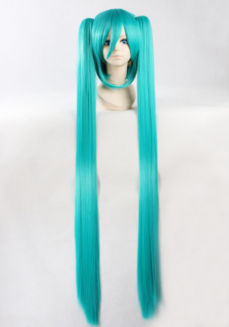 Quality Thick 120cm Long Straight Blue Wigs with TwO Ponytail Clips Anime  Vocaloid Hatsune Miku Cosplay