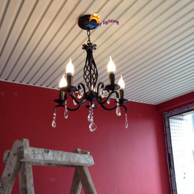 antique Black chandelier lighting Kitchen light chandelier mini vintage iron chandelier ceiling bedroom modern led chandeliers