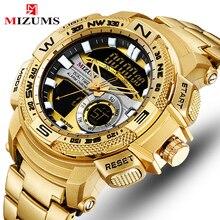 купить MIZUMS Brand Men Military Wrist Watches Golden LED Digital Sport Watch For Men's Dual Time Quartz Clock Relogio Masculino по цене 1101.51 рублей