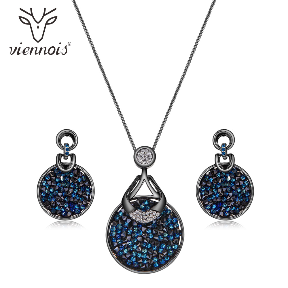 Viennois Blue Crystal From Women Jewelry Sets Fashion Rhinestone Pendant Earrings And Necklace Sets For Women chic rhinestone african plate shape pendant necklace and earrings for women